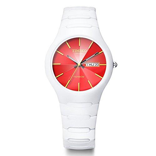 TIME100 Armbanduhr Keramik Weiss Saphir Glas Runde Analog Quarz Keramik W50087M 05A