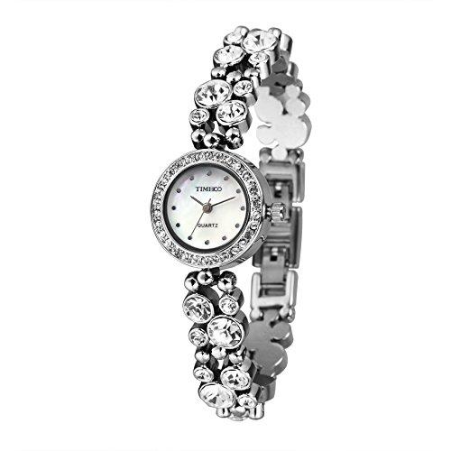 TIME100 Damen Armkette Armband Armbanduhr Diamant Runde Analog Quarz W50120L 01A