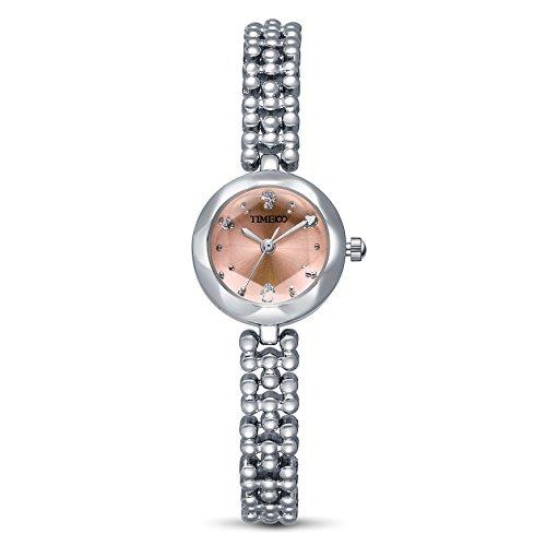TIME100 Damen Armkette Armband Armbanduhr Diamant Runde Gravur Shell Analog Quarz W50189L 06A