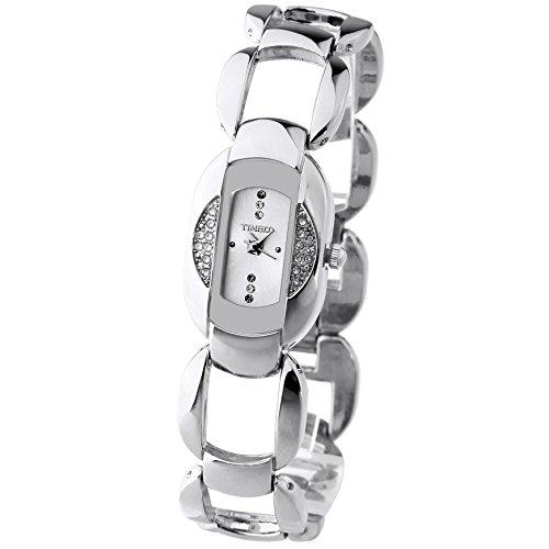 TIME100 Damen Armkette Armbanduhr Hohl Gravur Diamant Kreativ Analog Quarz Legierung W50152L 01