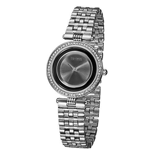 TIME100 Damen Armkette Armbanduhr Diamant Runde Analog Quarz Legierung W50155L 02A