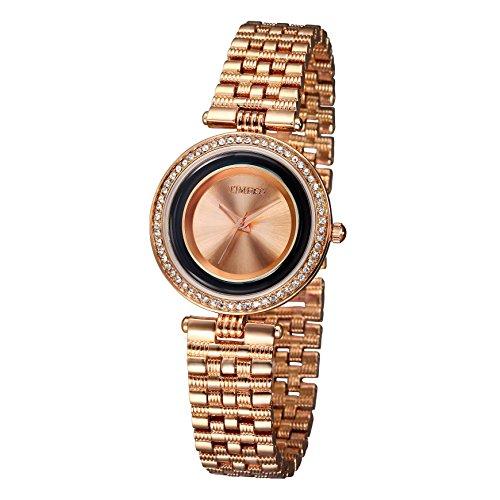 TIME100 Damen Armkette Armbanduhr Diamant Runde Analog Quarz Legierung W50155L 03A