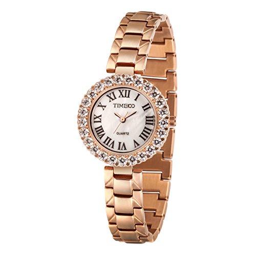 TIME100 Damen Armkettearmbanduhr Diamant Retro Analog Quarz Edelstahl Gold W50374L 02A