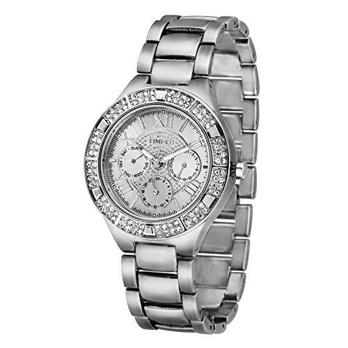 Time100 moderne Strass uhr Armbanduhr silber W50318G 01A