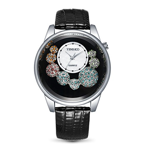 TIME100 Diamant Shell Analog Quarz Leder W50080L 02A
