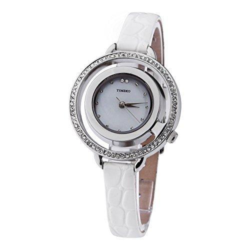 TIME100 Diamant Gravur Runde Shell Analog Quarz Leder W50201L 05A