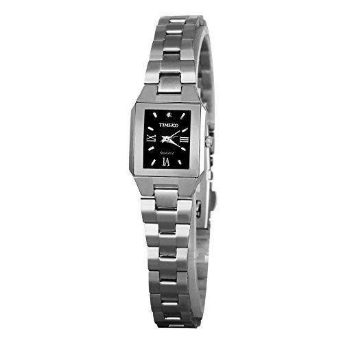 TIME100 Liebhaber Quadrat Analog Quarz Edelstahl Schwarz W80062L 01A