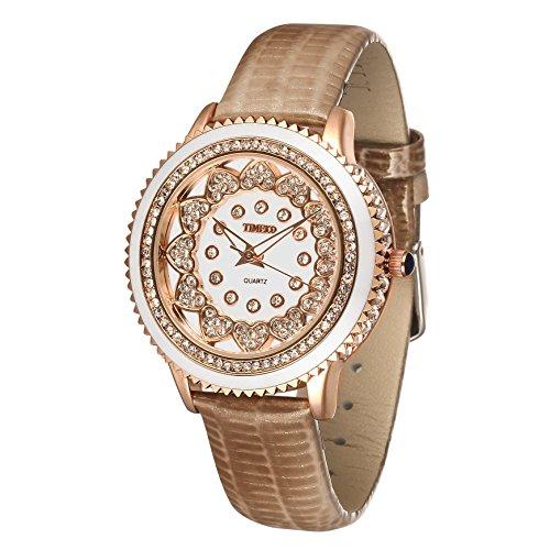Time100 Rund Strass Armbanduhr Quarzuhr Uhr Echte Leder Kaffee W50278L 04A