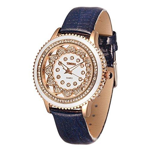 Time100 Rund Strass Armbanduhr Quarzuhr Uhr Echte Leder Blau W50278L 05A