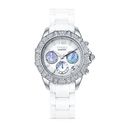 Time100 Elegant Keramik Uhr Choronoph Quartz Armbanduhr mit Strass Weiss W50056L 01A