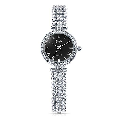 Time100 dekorativer Armband mit Strass Armbanduhr Quarz Analog Uhr Silber Schwarz B50583L 02A