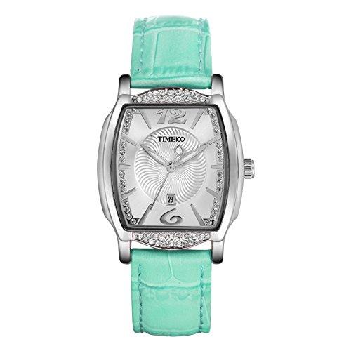 TIME100 Diamant Retro eckig Quarz Leder W50309L 02AN