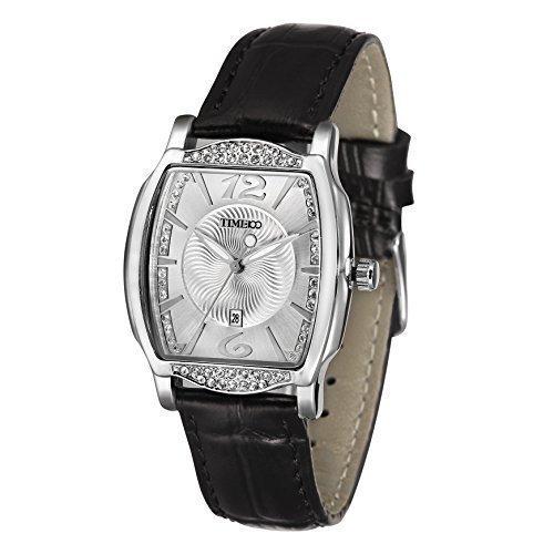 TIME100 Diamant Retro eckig Quarz Leder W50309L 03A