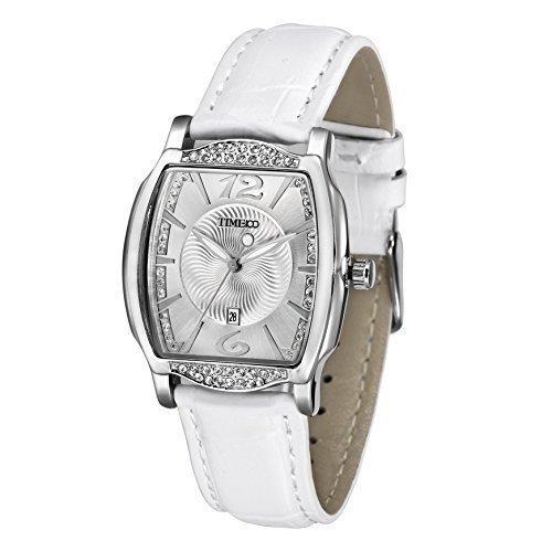 TIME100 Diamant Retro eckig Quarz Leder W50309L 04A