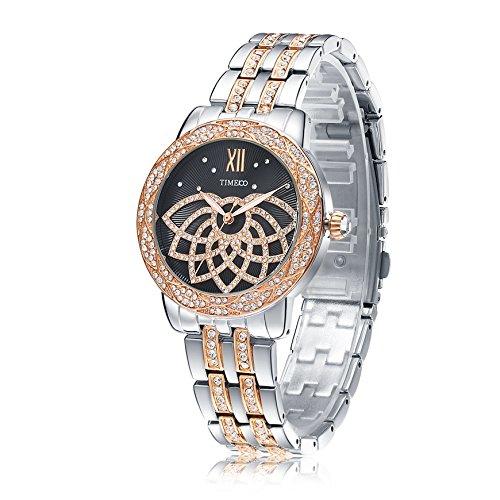 Time100 NEU Edelstahl Strass Armbanduhr fuer Damen Quarz Schwarz W80108L 02A