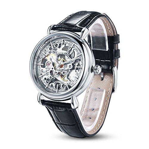 TIME100 mechenische Skelett Uhr Automatik Leder Schwarz Silber W60026L 01A
