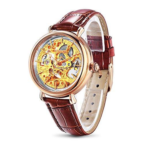 TIME100 mechenische Skelett Uhr Automatik Leder Braun Gold W60026L 02A