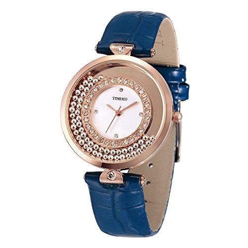 Time100 Strass Quarzuhr Leder rund Blau W50446L 03A