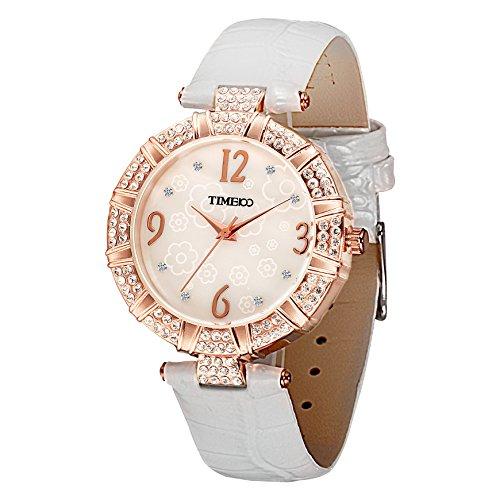 Time100 Strass Quarzuhr rund Leder Weiss W50449L 02A