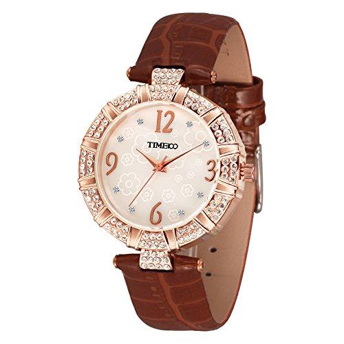 Time100 Strass Quarzuhr rund Leder Braun W50449L 05A