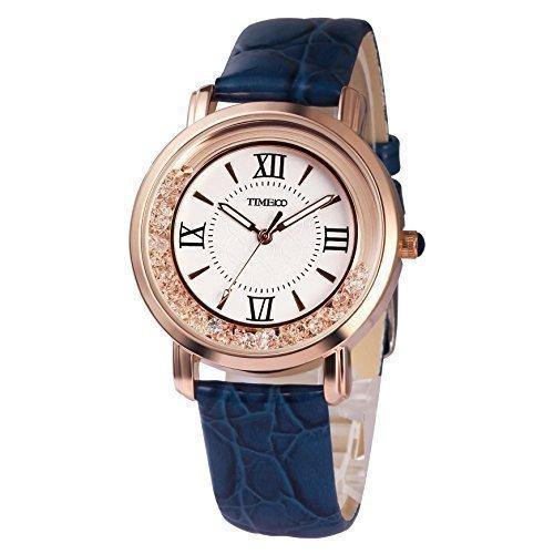 TIME100 Retro Runde mit roemischen Ziffern Quarz Leder W50277L 03A