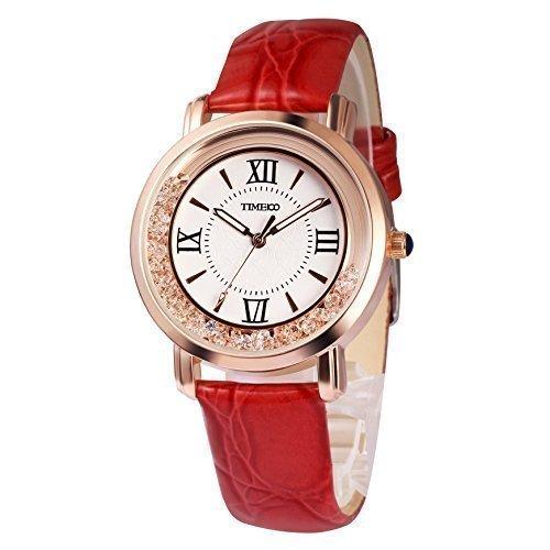 TIME100 Retro Runde mit roemischen Ziffern Quarz Leder W50277L 04A