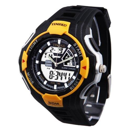 TIME100 Dualzeit Multifunktions Sport Gelbe Luenette elektronische Uhr W40068M 01A