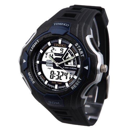 TIME100 Dualzeit Multifunktionssport Blau Bezel elektronische Uhr W40068M 04A