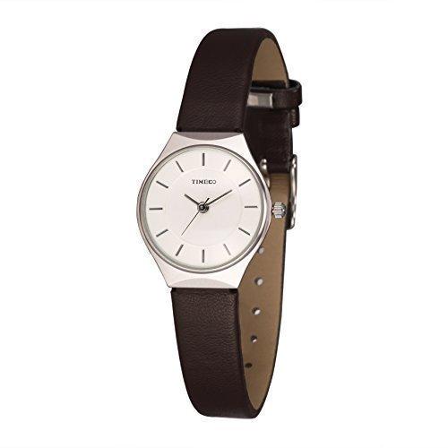 TIME100 Fein Zifferblatt Quarz Echtes Leder Braun W50237L 02A