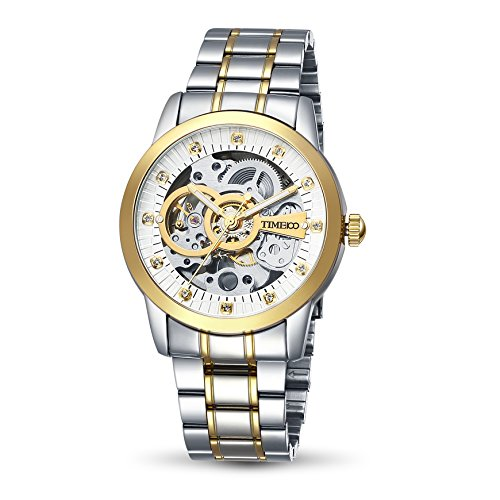 Time100 NEU Herrenarmbanduhr automatik edelstahl Gold Skelett Uhr W60042G 02A