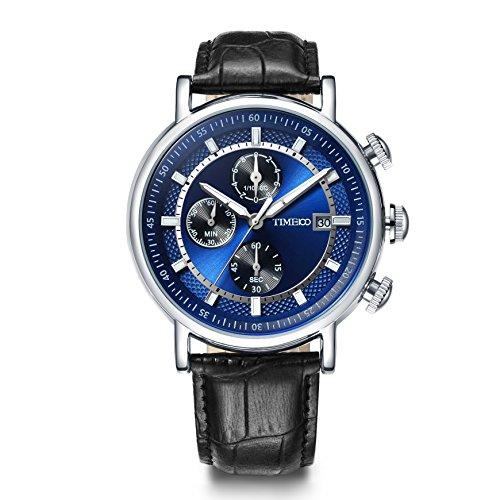 Time100 NEU Moderne Herrenarmbanduhr Chronograph Quarzuhr mit Datum Leder rund blau W80091G 01A