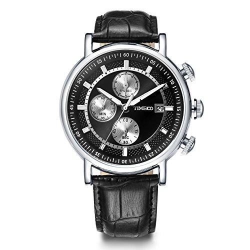 Time100 NEU Moderne Herrenarmbanduhr Chronograph Quarzuhr mit Datum Leder rund Schwarz W80091G 02A
