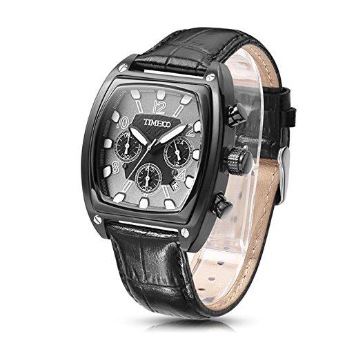 Time100 NEU Herrenchronograph Leder Schwarz Herrenarmbanduhr Quartz 5 Bar Wasserdicht W70111G 03A