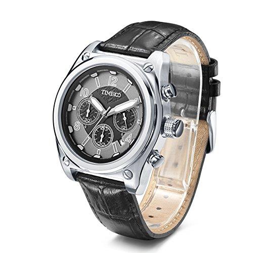 Time100 Herrenchronograph Leder Schwarz Herrenarmbanduhr Quatz 5 Bar Wasserdicht W70112G 02A