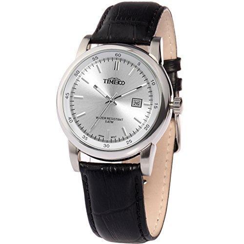 TIME100 Armbanduhr mit Kalender Analog Quarz Leder W70005G 04A
