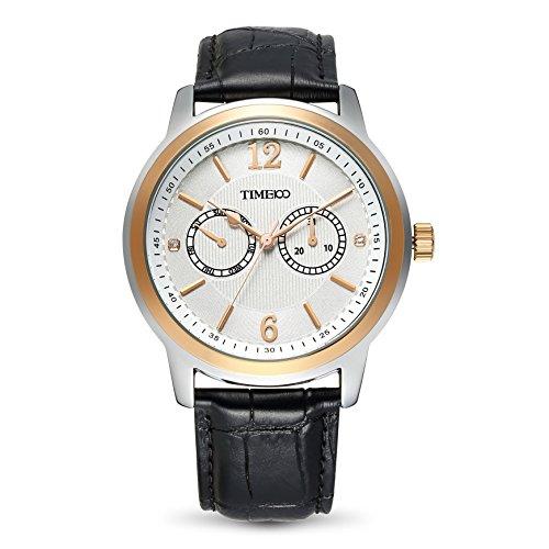 Time100 Business Style Leder Band Armbanduhr Quarz Analog Uhr W70153G 02A