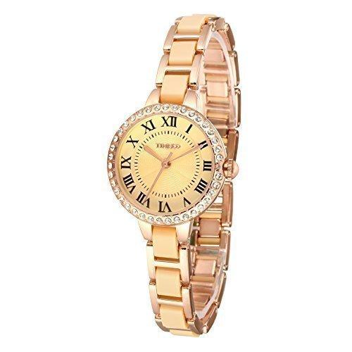 TIME100 Keramik Damenarmbanduhr Runde Analog Quarzuhr mit Strass Gold W50270L 03A