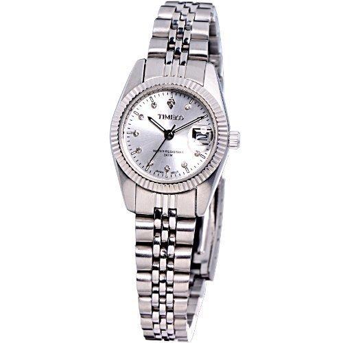 Time100 Klassische Business Liebespaar Frauen Armbanduhr Silber W80027L 01A