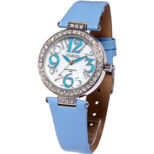 Time100 Schoene Luxurioese Dichterische Strass Analog Blau W50045L 02A