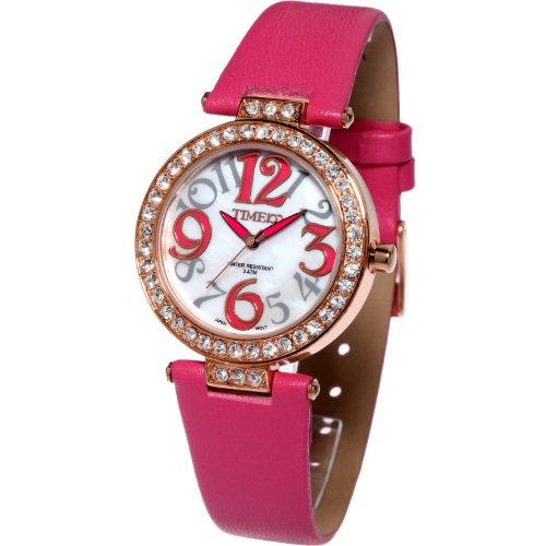 Time100 Schoene Luxurioese Dichterische Strass Analog Rosa W50045L 03A