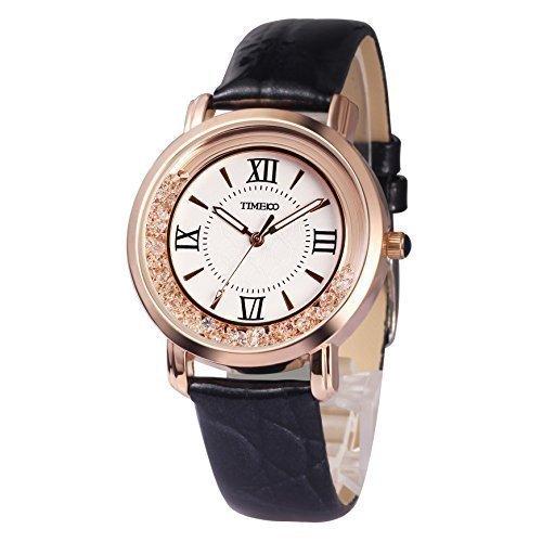 Time100 moderne Strass Armbanduhr fuer Damen und Maedchen schwarz W50277L 01A