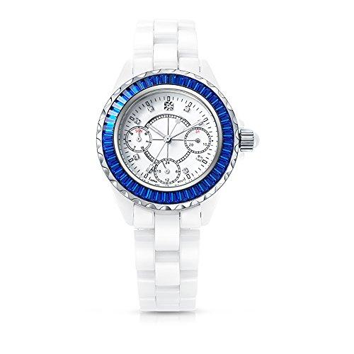 TIME100 NEU Reine Multifunktion Keramik Strass Analog Quarz 12 24 Stunden Format mit Datumsanzeige Blau W50019L 01A