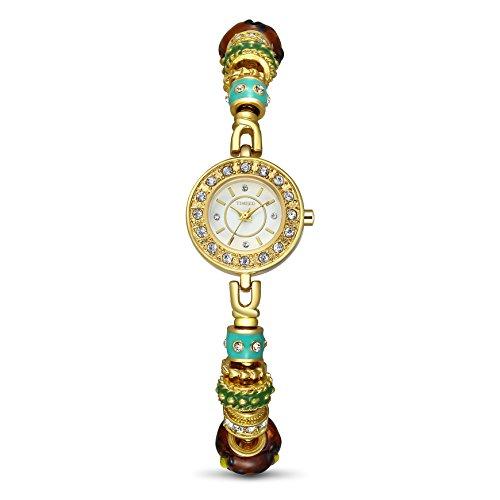 TIME100 Pandora Stil Damen Armkette Armbanduhr Strass Retro Analog Quarz Gold W50247L 02A