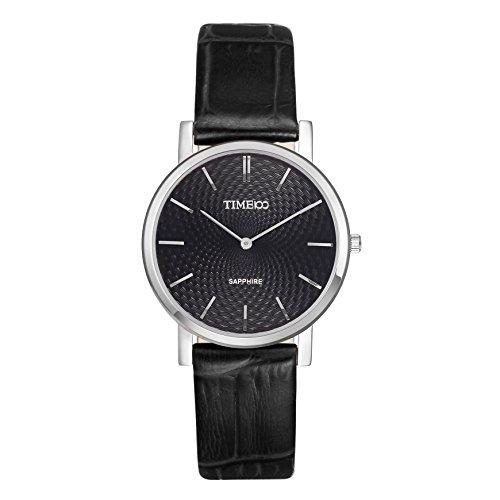 Time100 Saphir Serie Ultra Duenn Quarz Liebespaar mit Leder Armband W80078L 01A