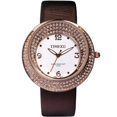 Time100 Schoene Luxurioese Strass Braun W50041L 01A