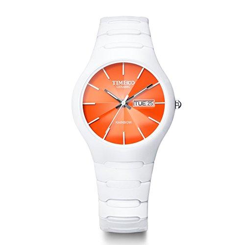 TIME100 Unisex Armbanduhr Saphir Glas Runde Analog Quarz Keramik W50087M 08A