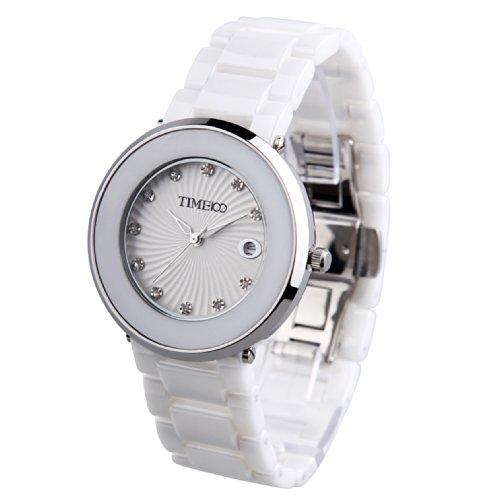 Time100 Unisex Keramik Armbanduhr Quarzuhr mit Datum Weiss W50181G 01A