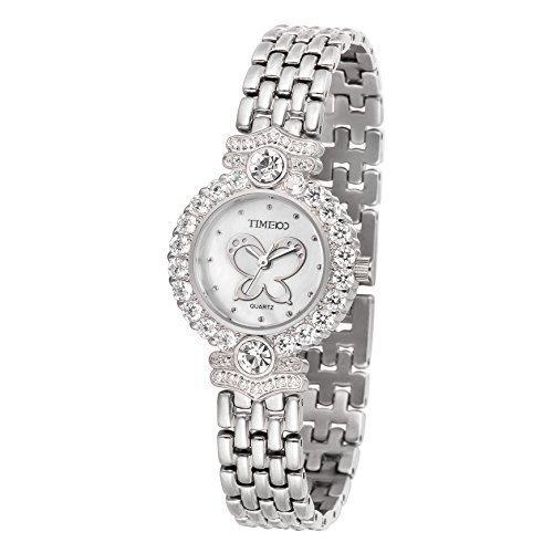 TIME100Damen Armkettearmbanduhr Diamant Runde Schmetterling Muster Analog Quarz Silber W50368L 01A