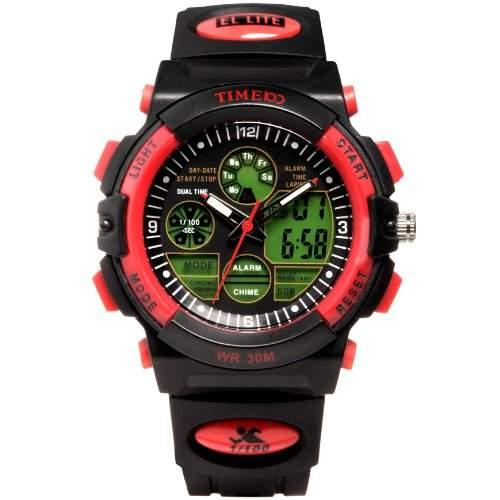 Time100 LCD Multifunktion-Sport-Analog-Digital-Armbanduhr Rot W40002G04A
