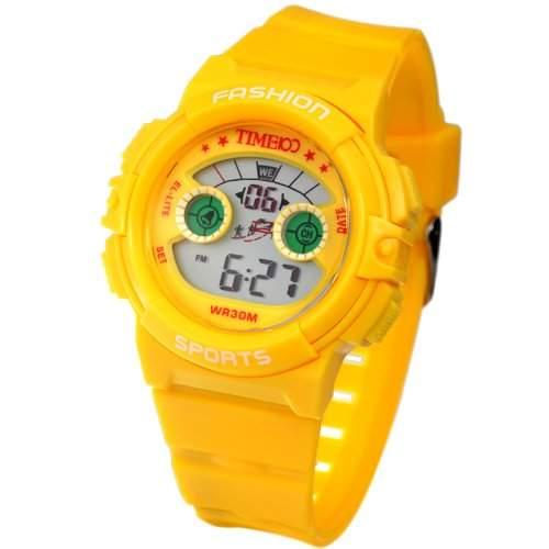 Time100 Farbige LCD Sport-Kinder-Digital-Armbanduhr gelb W40007G02A